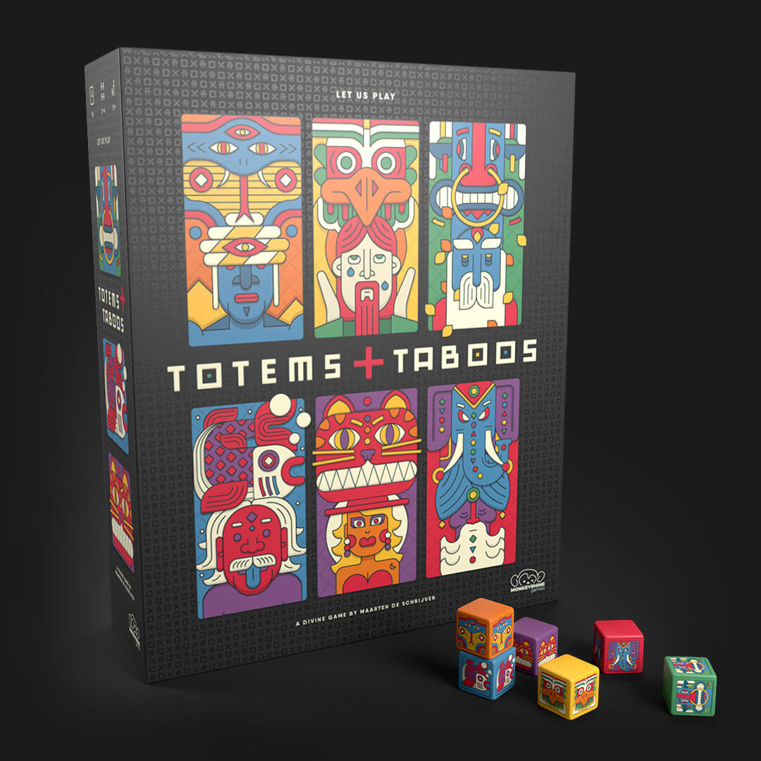 board game totems and taboo with totems dice