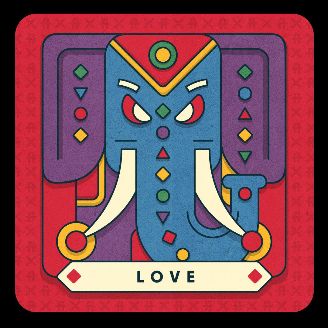 love card with elephant